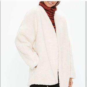 Missguided beige teddy coat